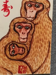 Year of the Monkey note card design by artist/calligrapher Yoshi Nakano