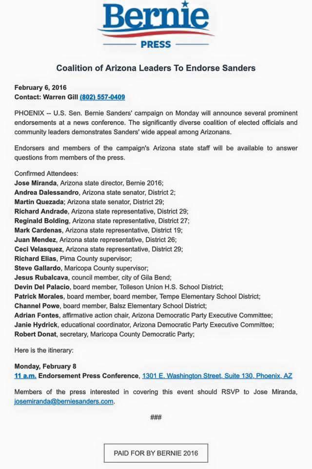 bernie press release