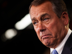 House Leader John Boehner Holds Press Briefing At The Capitol