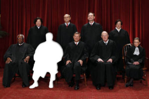 The justices of the U.S. Supreme Court gather for a group portrait in the East Conference Room at the Supreme Court Building in Washington, October 8, 2010. Seated from left to right in front row are: Associate Justice Clarence Thomas, Associate Justice Antonin Scalia, Chief Justice John G. Roberts, Associate Justice Anthony M. Kennedy, Associate Justice Ruth Bader Ginsburg. Standing from left to right in back row are: Associate Justice Sonia Sotomayor, Associate Justice Stephen Breyer, Associate Justice Samuel Alito Jr., and Associate Justice Elena Kagan.      REUTERS/Larry Downing (UNITED STATES - Tags: POLITICS CRIME LAW) - RTXT6Z5