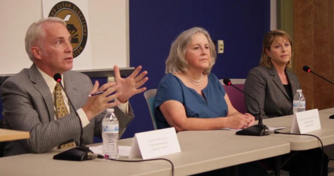 Rep. Randy Friese, Pamela Powers Hannley and Ana Henderson