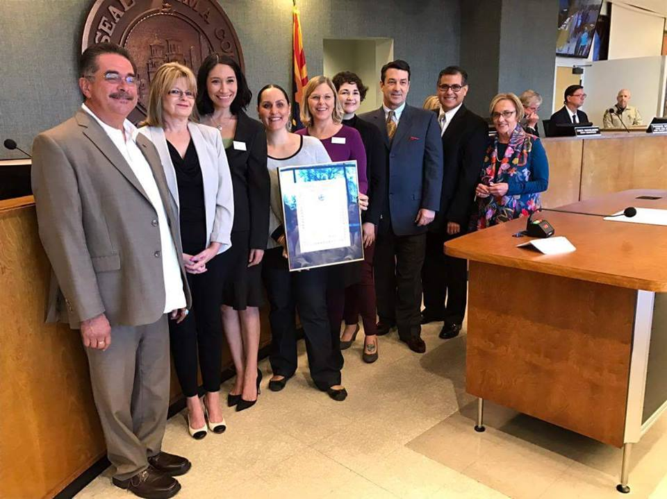 "Pima County Board of Supervisors, with YWCA of Southern Arizona staff receiving proclamation of ""Project Period Month"""