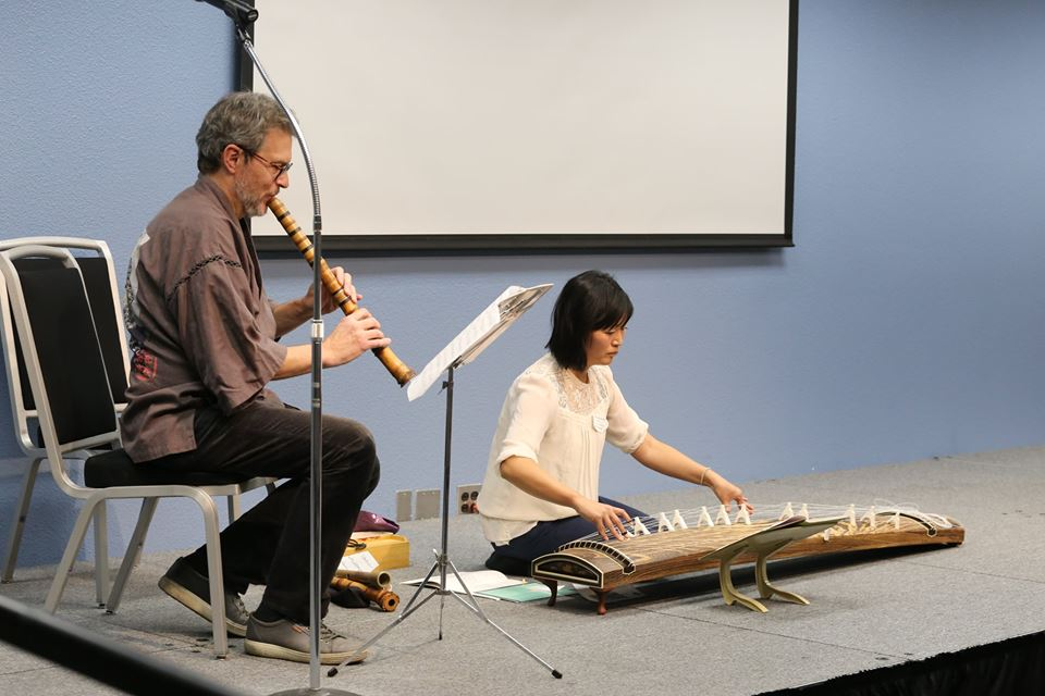 Paul Amiel (shakuhachi) and Akiwa Abe Brown (koto) performing a duet