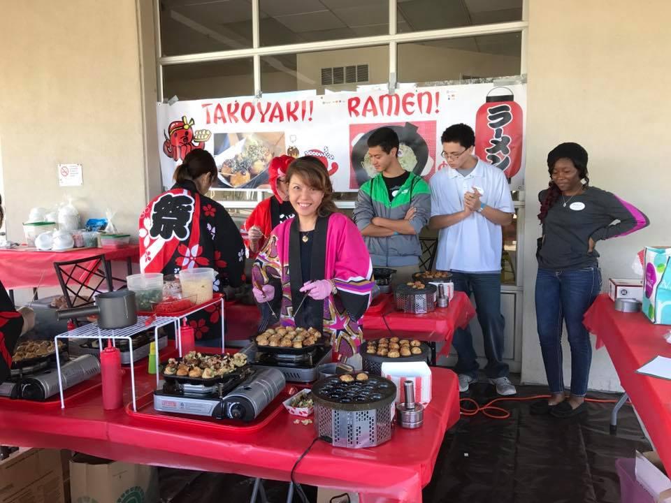 Tomomi Katz's delicious takoyaki (octopus balls) and ramen food booth