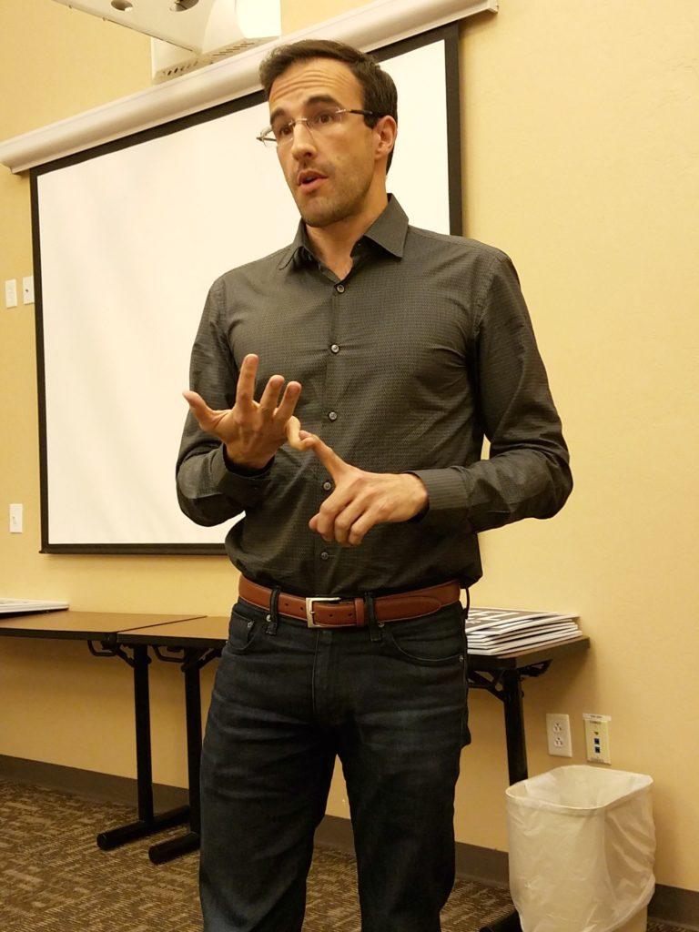 Matt Heinz addressing Democratic precinct captains in Sept. 2016