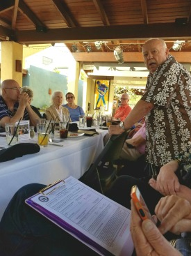 Harvey Akeson leads the discussion atOver-60 Liberals Who Do Breakfast and Lunch