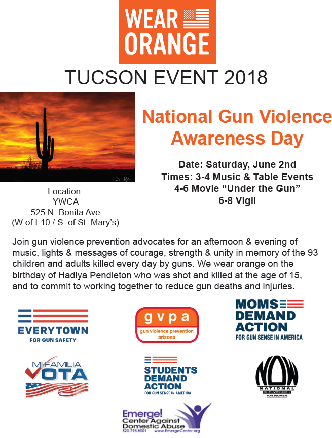Wear Orange on National Gun Violence Awareness Day @ YWCA of Southern Arizona | Tucson | Arizona | United States
