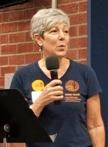 """Tamar Ralla Kreiswirth, the head of The Arizona Ground Game urged attendees to elect bettwer officals. """"It's all in our hands. Do we want legislators who are tied to the private prison systm, or do we want legislators who will focus on infrastructure and edcuation."""""""