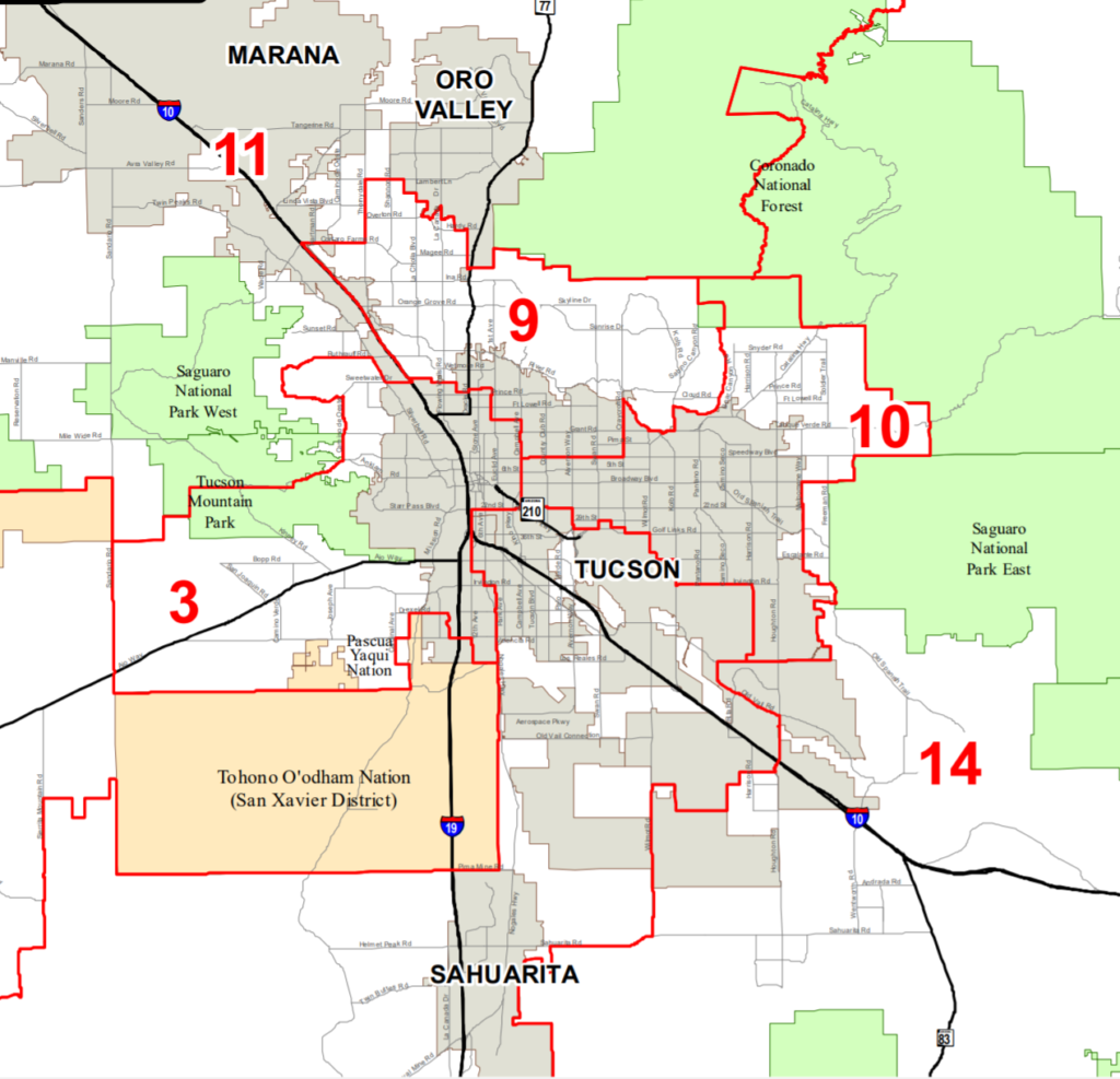 A map of the legislative districts in Pima County