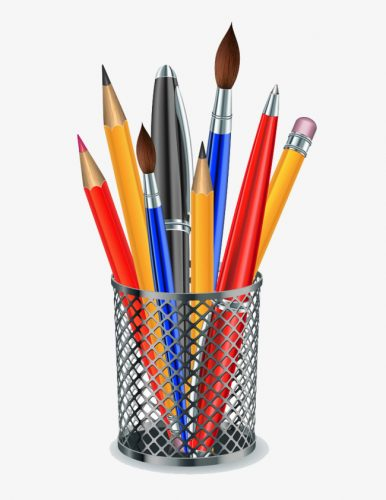pens and pencils in holder