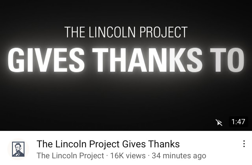 The Lincoln Project Releases a Thanksgiving Salute to American Heroes