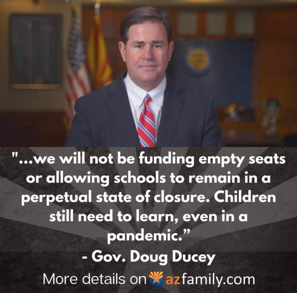 In Wanting to Make Nice With His Science Denying Base, Doug Ducey Goes to War Against Arizona's Public Schools