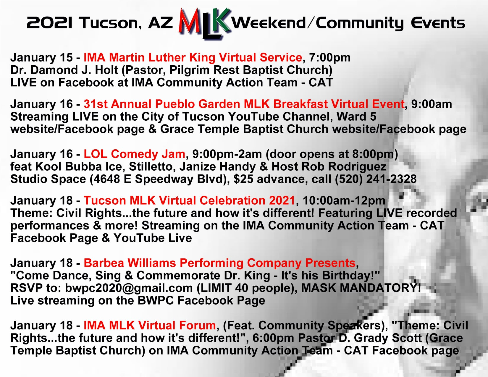 2021 MLK Tucson events, January 15 to 18